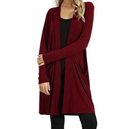 FEITONG Womens Open Front Plus Pockets Loose Drape Cardigan
