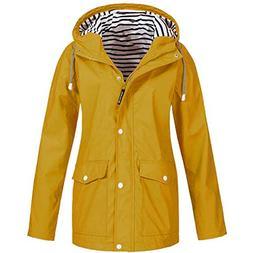 Outdoor Rain Jacket for Women Plus Size Waterproof Hooded Ra