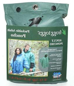 FROGG TOGGS PACKABLE ADULT PONCHO ONE SIZE GREEN