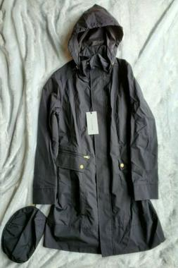 Cole Haan Packable Rain Jacket Coat Small Women's Black New