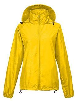 Leajoy Women's Packable Rain Jacket - Yellow S
