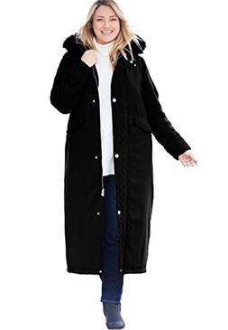 Women's Plus Size Coat Parka In Microfiber Slate,2X
