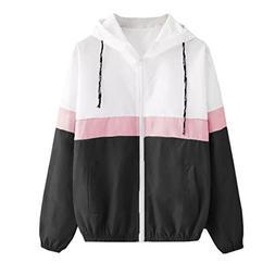 FEITONG Women Patchwork Thin Hooded Zipper Pockets Sport Coa
