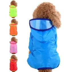 Pet Dog Puppy Rain Coat Rainy Jacket Outdoor Hooded Raincoat