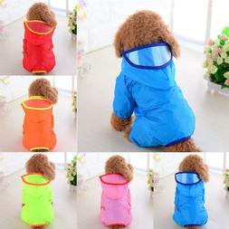 Pet Dog Rain Coat Clothes Puppy Casual Waterproof Jacket Hoo