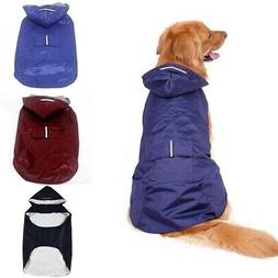 Pet Dog Waterproof Rain Coat Jacket Rainwear Hooded Puppy Re