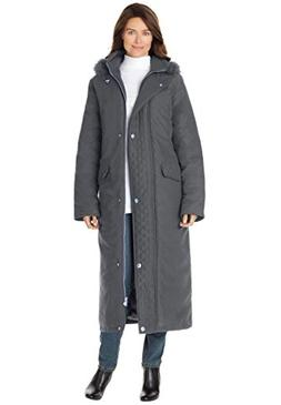 Women's Plus Size Coat Parka In Microfiber Slate,2X