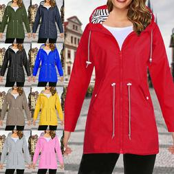 Plus Size Women Coat Waterproof Raincoat Ladies Outdoor Wind