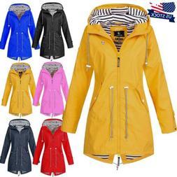 Plus Size Women Long Sleeve Hooded Wind Jacket Outdoor Water