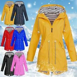 Plus Size Women Long Sleeve Hooded Wind Jacket Lady Outdoor