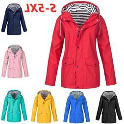 Plus Size Women Plain Raincoat Hooded Jacket Outdoor Coat Wi