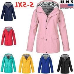 Plus Size Women's Long Sleeve Hooded Waterproof Wind Jacket