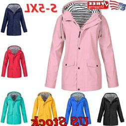 Plus Size Womens Hooded Wind Jacket Outdoor Waterproof Rain