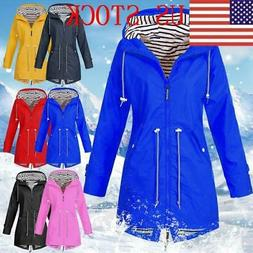 Plus Size Womens Rain Mac Wind Waterproof Jacket Ladies Hood