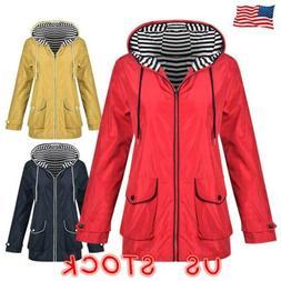 Plus Women Long Sleeve Hooded Wind Jacket Ladies Outdoor Wat
