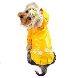 Polka Dots and Daisy Dog Raincoat Size: Small