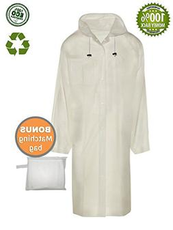 BlinQ Portable Rain Poncho Rain Jacket Raincoat with Drawstr