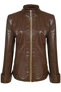 ANGVNS Women Fashion Quilted Biker Coat Leather Motorcycle J