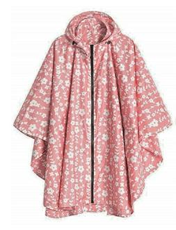 Rain Coat Poncho Pink White Flower Hood Waterproof Clothing