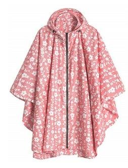Rain Coat Poncho Pink White Flower Hood Woman Waterproof Clo