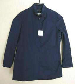 Sanyo Rain Coat Quilted Removable Lining Stowaway Hood Blue
