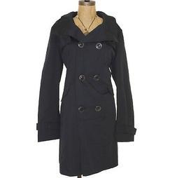 Ellen Tracy Rain Coat Size XL Button Double Breasted Black C