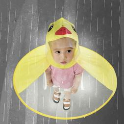 Rain Coat UFO Duck Kids Baby Children Umbrella Hat Magical H