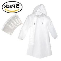 Rain Guard Disposable Emergency Rain Poncho with Hood Clear