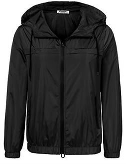 Hotouch Rain Jacket with Hood Long Sleeve Zip-up Raincoat Pl