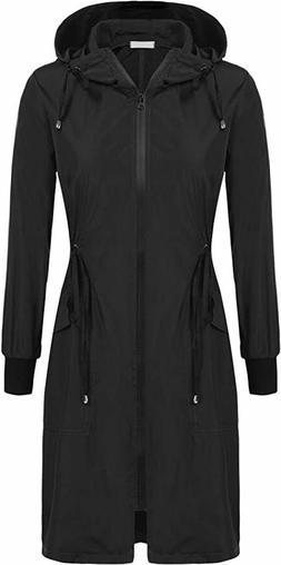 ELESOL Rain Jacket Women Long Rain Coat Lightweight Waterpro