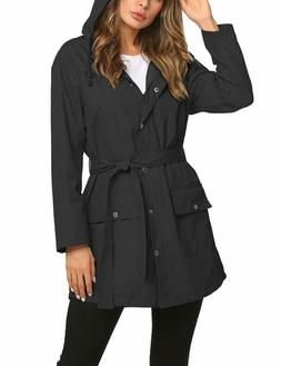 ZHENWEI Rain Jacket Women Long Raincoat Lined Rain Coat Wate