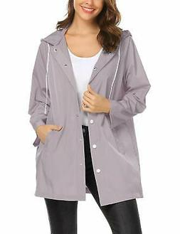 ZHENWEI Rain Jacket Women Waterproof with Hood Windbreaker O