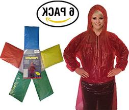 Rain Poncho for Adults   6 Pack with Drawstring Hood and Ful