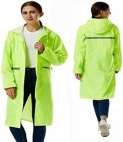 Rain Poncho Long Reflective Waterproof Raincoat with Hood fo