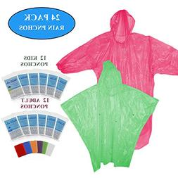 LOHASEE Rain Ponchos Family Pack - Adults and Children Ponch
