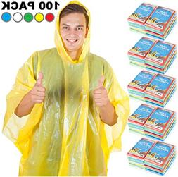 Rain Ponchos For Adults & Teens - Disposable Rain Poncho For