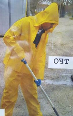 Rain-Suit Safety Yellow Coat Hood Pants 3pc Heavy Duty Gear