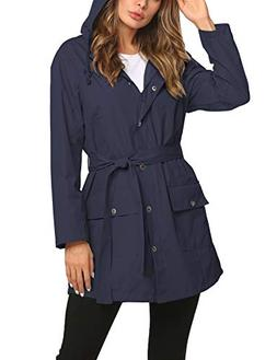 Rain Trench Coat for Women Belted Warm Waterproof Outdoor Wi