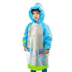Hosim Kids Raincoat for Girls and Boys, Foldable Portable Ch