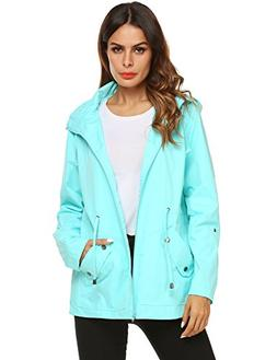 ZHENWEI Raincoat Women Waterproof with Hood Active Duster Fa