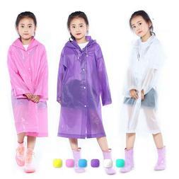 Raincoat Transparent Frosted Girl Boy Rainwear Outdoor Plast