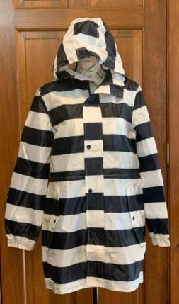 Joules Raincoat With Hood Snap Zipper Navy Stripe Sz. 6 NWT