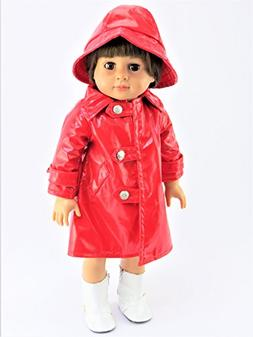 Red Rain Coat with Hat - Rainboots & Doll NOT INCLUDED - Fit
