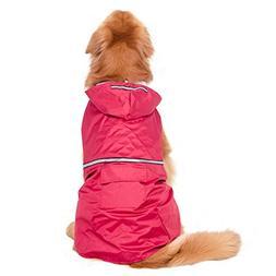 BONAWEN Reflective Dog Rain Coat with Pouch/Leash Hole for X