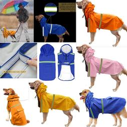 Reflective Rain Coat Dog Hooded Lightweight Jacket S-5XL Wat