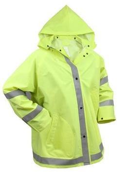 Rothco Reflective Rain Jacket, Safety Green, X-Large