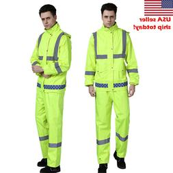 Reflective Waterproof Rain Jacket SET Suits Working Safety C