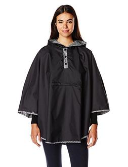 totes Women's Reversible Rain Poncho, Black, One Size