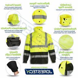 safety rain jacket reflective green hi vis