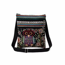 Shoulder Bag,AfterSo Embroidered Owl Tote Bags Women Handbag